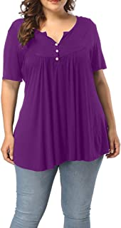 Allegrace Women's Plus Size Henley V Neck Button up Tunic Tops Casual Short Sleeve Ruffle Blouse Shirts