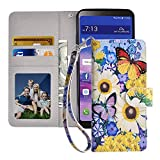 MagicSky LG Stylo 4 Case,LG Stylo 4 Plus Wallet Case,LG Q Stylus Premium PU Leather Flip Folio Phone Case Cover with Wrist Strap,Card Holder,Cash Pocket,Kickstand for LG Stylus 4,Butterfly over Flower