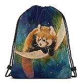 Genertic Mochila con cordón y diseño de Panda y Luna, Color Rojo