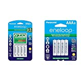 Panasonic Advanced Individual Battery 3 Hour Quick Charger with 4 AAA eneloop Rechargeable Batteries, White & BK-4MCCA8BA eneloop AAA 2100 Cycle Ni-MH Pre-Charged Rechargeable Batteries, 8 Pack