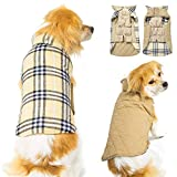 Winter Dog Jacket for Cold Weather, Warm Dog Coats Waterproof Windproof Reversible, Plaid Dog Vest Jackets for Extra Small Puppy Dogs, Beige XS