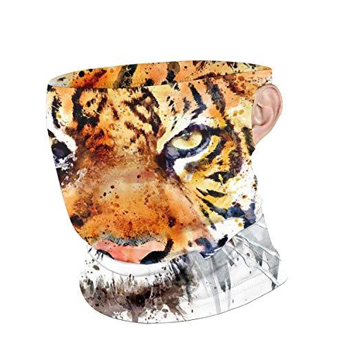 Lawenp Polainas de cuello Unisex Cool Watercolour Tiger Reutilizable Face neck Summer Transpirable Bandanas