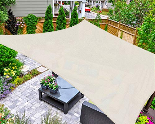 AsterOutdoor Sun Shade Sail Rectangle 6' x 10' UV Block Canopy for Patio Backyard Lawn Garden Outdoor Activities, Cream