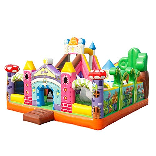 WRJY Kind Langlebige aufblasbare Hüpfburg mit Luftgebläse Burg mit Rutsche Langlebig genäht mit extra dickem Material Geschenk für Kinder Kinderspielplatz (Farbe: Hüpfburg, Größe: 600x700x450cm)