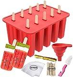 10 Stampi per Ghiaccioli Ice Pop Maker Silicone Ghiaccioli Gelati Riutilizzabili 50 Bastoncini Di Legno