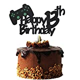 Video Game Cake Topper for 13 Year Old Gamer Birthday Decorations, Glittery Happy 13th Birthday Video Game Cake Topper for 13th Birthday Party Cake Decorations