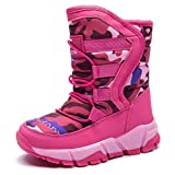 HOBIBEAR Girls Winter Snow Boots Waterproof Outdoor Warm Faux Fur Lined Shoes with Strap (Hot Pink-c,7 Toddler)