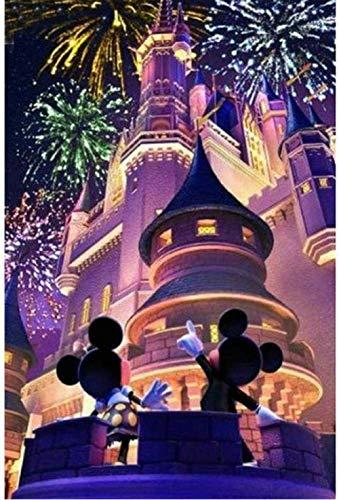 warmwfw DIY 5D Diamante Pintura Mickey Mouse Castillo Dibujos Animados Bordado Punto de Cruz Decoración del hogar Niños Hecho a Mano En Vivo 40X50Cm