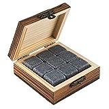 buddy´s bar - 9 pierres à whisky, 2 x 2 cm, coffret cadeau basique, boîte en bois élégante, cubes
