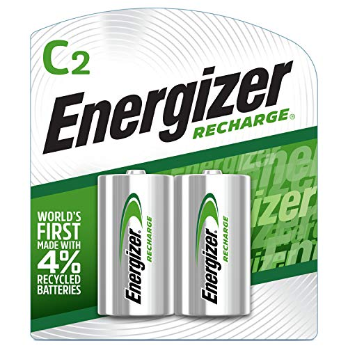 Energizer Rechargeable C Batteries, NiMH, 2500 mAh, 2 count