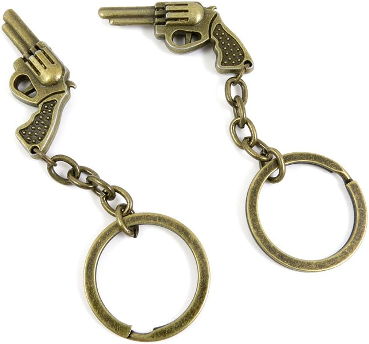 100 PCS Keyrings Keychains Key Ring Chains Tags Jewelry Findings Clasps Buckles Supplies Y2FB6 Revolver Gun