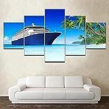 QWRTU 5 Piezas De Arte De Pared Impresiones En Lienzo Crucero de Lujo con Vistas al mar 5 Piezas Cuadro Moderno En Lienzo Decoración para El Arte De La Pared del Hogar 150x80Cm HD Impreso Mural