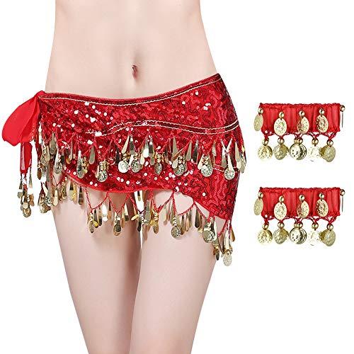 Vathery riem voor Oosterse dans, buikdans, riem, sequin met armband Rood