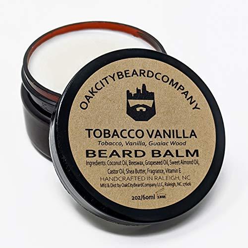 OakCityBeardCo. - Tobacco Vanilla - 2 Ounce - Beard Balm - Tobacco - Vanilla - Guaiac Wood - Beard Conditioner