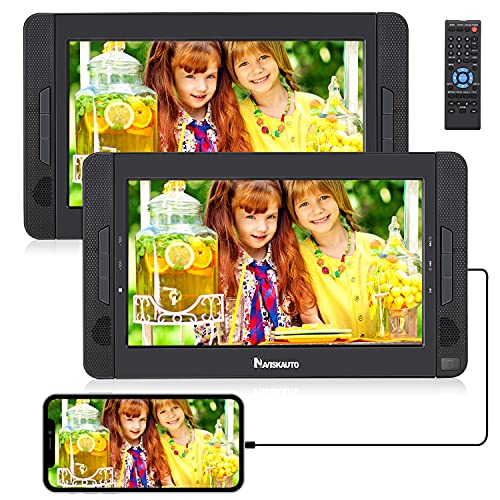 """10.1"""" DVD Portátil Coche con 2 Pantallas soporta HDMI para Niño, Reproductor de DVD para Reposacabezas Soporta SD USB CD DVD Región Libre, 4 Horas Batería Recargable - NAVISKAUTO"""