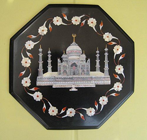 Craftlook Placa de mármol negro con incrustaciones de mosaico, madre de Parle, Taj Mahal, 30,5 cm
