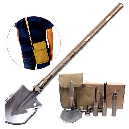 aiMaKE Super High Strength Military Folding Shovel with Carrying Pouch for...