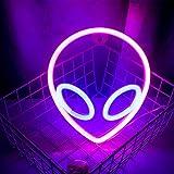 Wanxing - Letreros de neón con forma de alienígena rosa azul con luces LED para dormitorio, habitación de niños, sala de juegos y oficina, como decoración de pared, decoración de fiesta o regalo