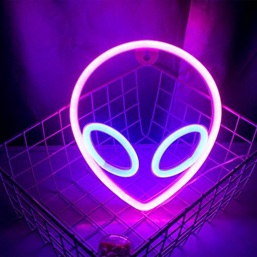 Wanxing - Letreros de neón con forma de alienígena rosa azul con luces LED para...