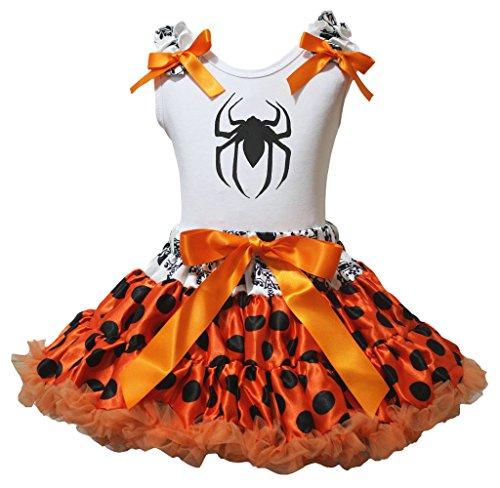 Petitebelle Halloween araña camisa de color blanco negro lunares naranja falda 1–8Y