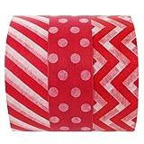Wrapables Ravishing Red Japanese Washi Masking Tape (Set of 3), 10M L x 15mm W