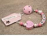 Baby SCHNULLERKETTE mit Namen – Mädchen Jungen Schnullerhalter mit Wunschnamen – Herz Ornament in rosa