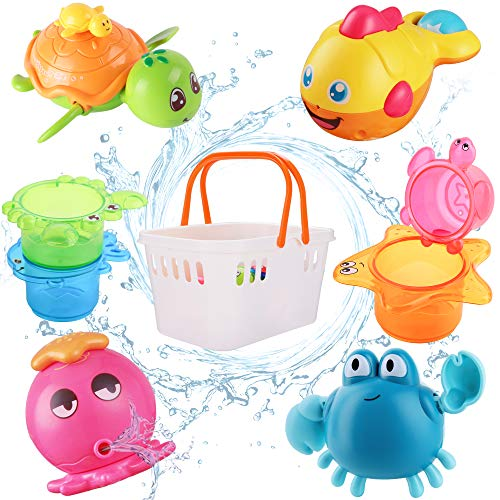 iPlay, iLearn Baby Bath Toys, Fun Bath Time Tub Toys w/ Organizer, Kids Wind Up Water Toys, Stacking Cups, Gifts for 6, 9, 12, 18 Months 1, 2 Years, Toddlers, Girls, Boys