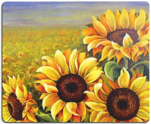 Mouse Pad, Sunflowers Mouse Pad, Oil Painting Sunflower MousePad, Gaming Mouse Mat, Square Waterproof MousePadNon-SlipRubberBaseMousePadsforOffice HomeLaptopTravel,9.5'x7.9'x0.12'Inch