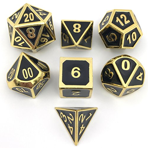IvyFieldDice Shiny Gold w/Black Metal Enamel Dice D4 D6 D8 D10 D% D12 D20 for Dungeons and Dragons RPG Dice Gaming with Free Drawstring Pouch