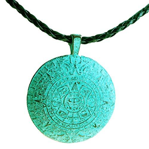 Anhänger Sonne/Sonnenscheibe Türkis mit Kette Handarbeit - Azteken Mexiko Maya Yoga Esoterik Spiritualität Astrologie Energie