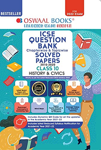 Oswaal ICSE Question Bank Class 10 History and Civics Book Chapterwise & Topicwise (Reduce Syllabus) (For 2022 Exam)