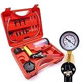 JHYM Bomba de vacío Handheld Tester Set, indicador de vacío mejorados y sangrador del Freno Kit con Adaptador de 4 onzas depósito de Reserva, 3 Tipos de Manguera de vacío