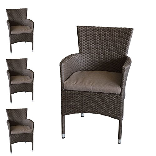 Wohaga 4X Polyrattan Sessel stapelbar Rattansessel braun-meliert inklusive Sitzkissen Gartensessel Stapelstuhl Gartenstuhl Rattanstuhl