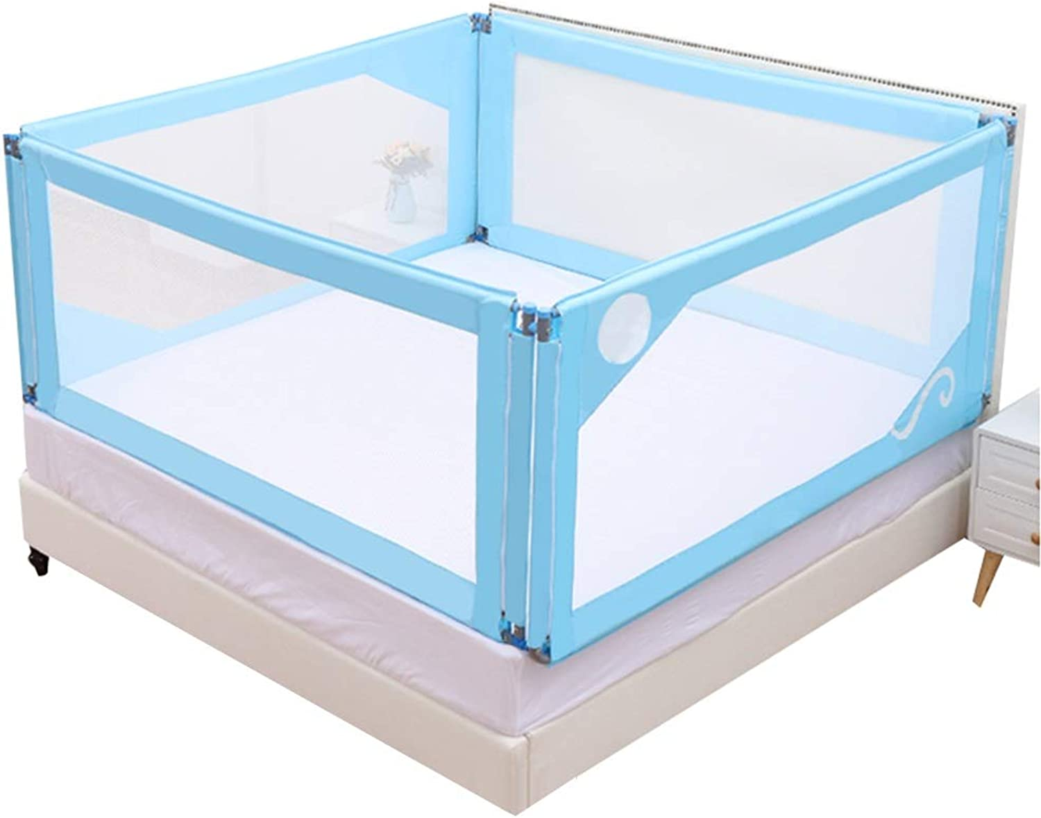 HENGYUSBed rail For Kids 3 Sets Of Metal Tube Stable Grid Breathable Environmental Predection Healthy, 4 Sizes, 3 colors (color   bluee, Size   190x180x76cm)