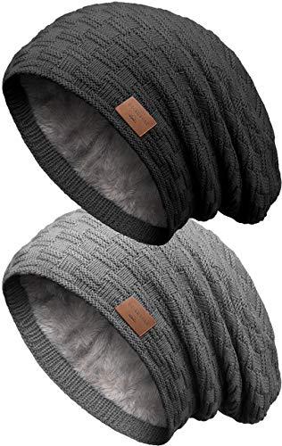 Grin&Bear Long Slouch Beanie Grobstrick Teddyfleece SetF M10