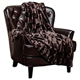 Chanasya Fuzzy Faux Fur Rectangular Embossed Throw Blanket - Super Soft and Warm Lightweight Reversible Sherpa for Couch, Home, Living Room, and Bedroom Décor (50x65 Inches) Chocolate