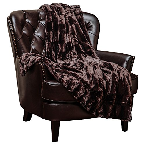 Chanasya Fuzzy Faux Fur Elegant Rectangular Embossed Throw Blanket - Plush Sherpa Microfiber Coffee Blanket for Bed Couch (50x65 Inches) Chocolate