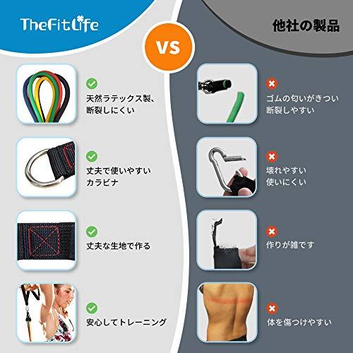 TheFitLifeトレーニングチューブチューブトレーニング筋トレチューブフィットネスチューブ-超強化版天然ラテックス製5レベル負荷強度別5本セットゴムチューブ筋トレヨガリハビリシェイプアップピラティス収納ポーチ・日本語説明書付(5色セット(50kg))