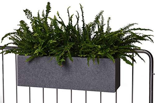 VIVANNO Balkonkasten Blumenkasten zum Aufhängen Fiberzement Milano Benno, Grau 22 x 62 x 21,5 cm