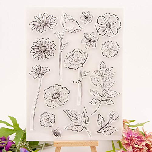 WYSE Flower Clear Stamps Leaves Transparent Silicone Stamp Seal for DIY Scrapbooking Photo Album Paper Card Craft Supplies