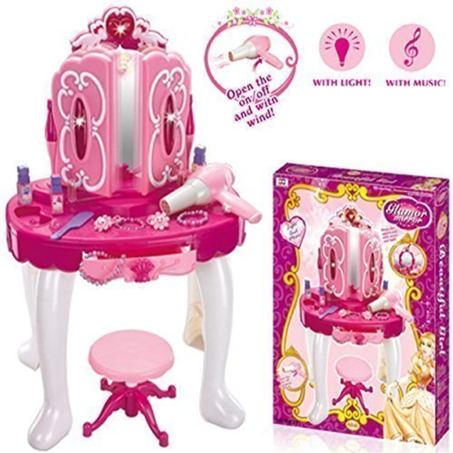 Brand New Girls Pink Musical Dressing Table Vanity Light Mirror Play Set Toy Glamour Make Up Desk With Stool Great XMAS Fun.