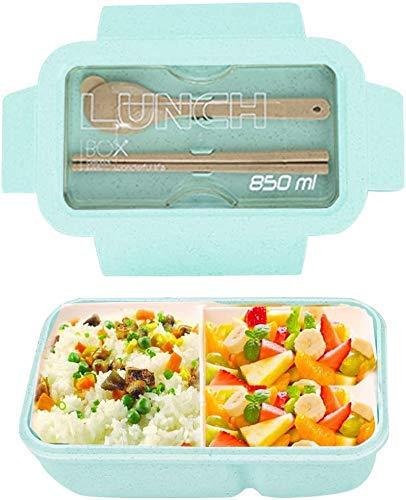 JIANGAA Caja for Adultos, 3 Compartimiento con la Cuchara Tenedor Caja de Almuerzo de Comidas de preparación Contenedores for Niños - BPA - Horno de microondas, lavavajillas y el congelador