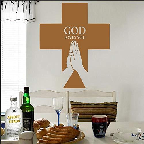Stickers muraux pour salles de bains enfants, art de tatouage mural, croix chrétienne religieuse croix chrétienne Jésus Dieu t'aime Jésus affiche 37x51cm