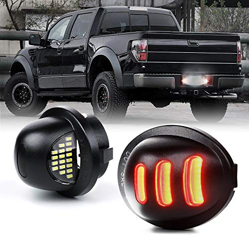 Xprite White LED License Plate Light Assembly with Red OLED Running Lights Tag Lamp Replacement for Ford F-150 F-250 F-350 Super Duty Ranger Pickup Truck Explorer Bronco Excursion Expedition