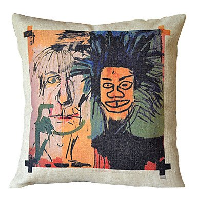 Basquiat Scrawl Cotton Decorative Pillow Cover