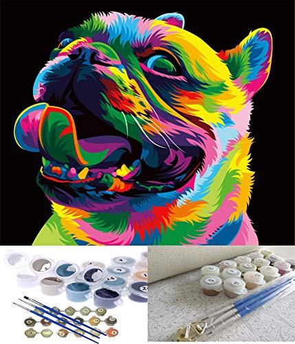 Jack West Paint by Number for Kids and Adults Beginner,DIY Painting Paint by Numbers Kits,Cute Dog 16X20 inch Wihtout Frame Canvas