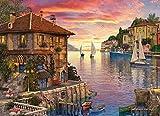 EACHHAHA 1000 Piezas Puzzle,Puerto mediterráneo Puzzles para Adultos, 70x50CM,Rompecabezas de Piso Juego de Rompecabezas y Juego Familiar