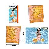 ALLPER Manguitos Naranjas con Delfines, Medidas 23 x 15 cm, para Piscina y Playa. (3-6 años)