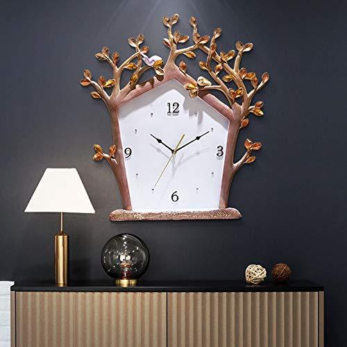 WHSS Relojes de pared nórdicos modernos creativos casa árbol casa tallada a mano alivio perspectiva mute reloj de pared resina jardín decoración simple 56 x 51 cm