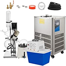 VEVOR 5L Rotary Evaporator 0-90rpm Professioanl Rotary Evaporator with Vacuum Pump & Chiller with Manual Lift 0-180°C 0.098mpa,White